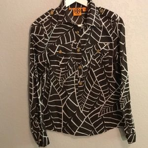 Tory Burch long sleeve brown blouse with leaves